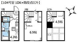 ハーミットクラブハウス田園調布(仮) 2階1DKの間取り