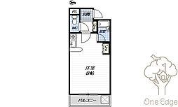 レナジア大和田 4階ワンルームの間取り
