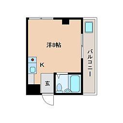 近鉄天理線 天理駅 徒歩16分の賃貸マンション 2階ワンルームの間取り