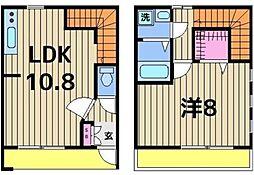 東武伊勢崎線 五反野駅 徒歩11分の賃貸テラスハウス 1LDKの間取り