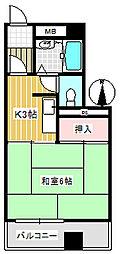 コーポ小見野(坂戸)[3階]の間取り