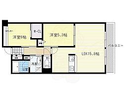 北大阪急行電鉄 千里中央駅 徒歩11分の賃貸マンション 3階2LDKの間取り