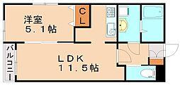 リーフタカShow 2階1LDKの間取り