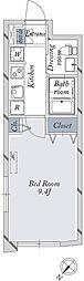 東京メトロ丸ノ内線 新大塚駅 徒歩8分の賃貸マンション 2階1Kの間取り