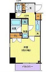 東急田園都市線 用賀駅 徒歩6分の賃貸マンション 2階1Kの間取り