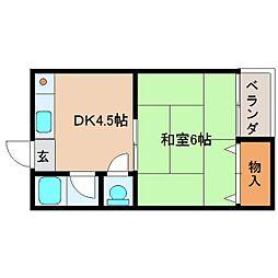奈良県生駒市仲之町の賃貸マンションの間取り