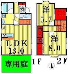 東武伊勢崎線 梅島駅 徒歩17分の賃貸一戸建て 2LDKの間取り