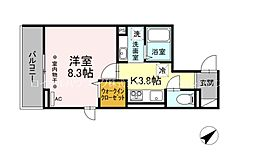 D-ROOM大塚帝京 3階1Kの間取り