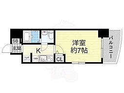 阪神なんば線 桜川駅 徒歩1分の賃貸マンション 11階1Kの間取り