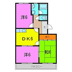 緑区 ハイツフローラI[1階]の間取り