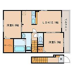 静岡県静岡市清水区村松1丁目の賃貸アパートの間取り