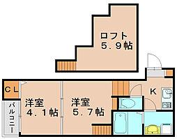 ベルフィールカレン箱崎[1階]の間取り