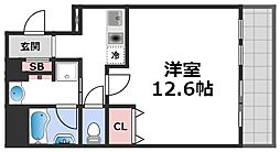 セゾンラトゥール桃谷 6階1Kの間取り