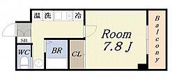 ハーバーハウス大阪 3階1Kの間取り