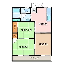 三重県松阪市五反田町3丁目の賃貸アパートの間取り