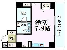 Osaka Metro四つ橋線 肥後橋駅 徒歩5分の賃貸マンション 10階ワンルームの間取り