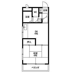ヨコミゾマンション[203号室]の間取り