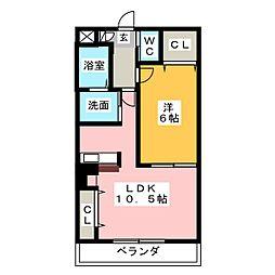 愛知県名古屋市緑区桶狭間清水山の賃貸マンションの間取り