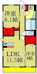 (仮)D−ROOM北松戸2丁目[2階]の間取り