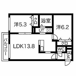 essence310c 3階2LDKの間取り