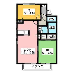 クレアールF[2階]の間取り