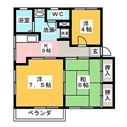 メドゥーサB[2階]の間取り