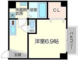 グランパシフィック木川東 2階1Kの間取り