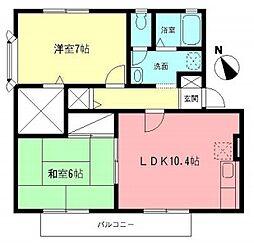 神奈川県相模原市緑区橋本7丁目の賃貸アパートの間取り