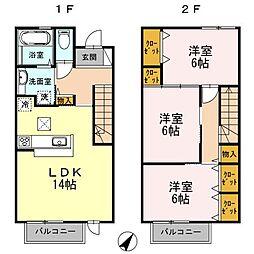[タウンハウス] 大阪府茨木市上中条2丁目 の賃貸【/】の間取り
