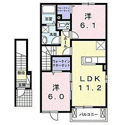 西鉄天神大牟田線 矢加部駅 徒歩18分の賃貸アパート 2階2LDKの間取り