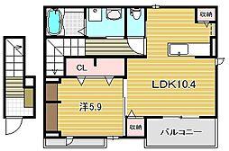 レヴール松ヶ丘[2階]の間取り