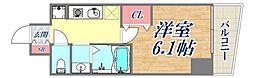 エステムコート神戸元町2ブリーズ 8階1Kの間取り