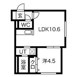 札幌市営東西線 発寒南駅 徒歩5分の賃貸マンション 1階1LDKの間取り