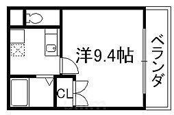 京阪本線 清水五条駅 徒歩10分の賃貸マンション 4階1Kの間取り