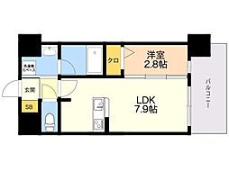 LANDIC K2620 7階1LDKの間取り