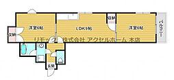 アトレーユ深江 4階2LDKの間取り