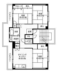 ビレッジハウス大島1号棟4階Fの間取り画像