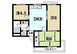 仲嶌マンション 3階3DKの間取り