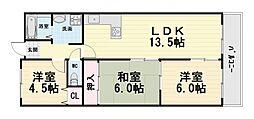 大阪府堺市西区浜寺南町1丁の賃貸マンションの間取り
