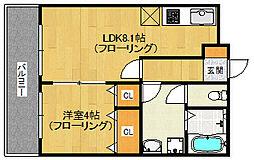 福岡県福岡市早良区梅林6丁目の賃貸マンションの間取り