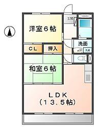 愛知県北名古屋市徳重与八杁の賃貸アパートの間取り