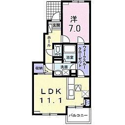 西武新宿線 入曽駅 徒歩11分の賃貸アパート 1階1LDKの間取り