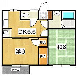 ハイツ富士B[102号室号室]の間取り