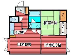 ルーベデンス金戸[2階]の間取り