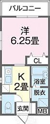 エス・クラッソ 2階1Kの間取り