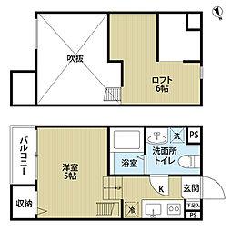 大阪府堺市堺区海山町4丁の賃貸アパートの間取り