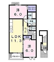 パレドールII[2階]の間取り