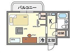 家具・家電付きメゾン・ド・祇園 C[8階]の間取り