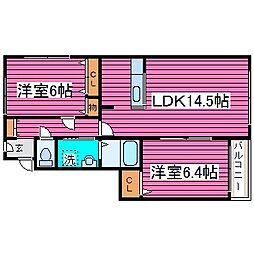 北海道札幌市北区拓北六条2丁目の賃貸マンションの間取り