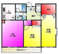 楓雅24[4階]の間取り
